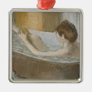 Edgar Degas | Woman in her Bath, Sponging her Leg Silver-Colored Square Decoration