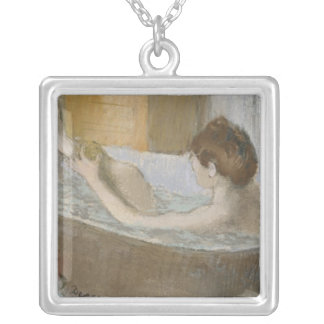 Edgar Degas   Woman in her Bath, Sponging her Leg Silver Plated Necklace