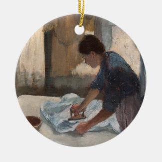 Edgar Degas   Woman Ironing, c.1876-87 Round Ceramic Decoration