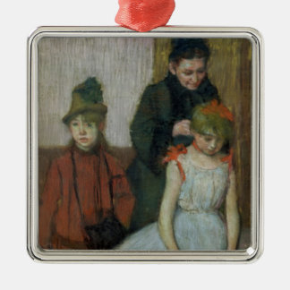 Edgar Degas | Woman with two little girls Silver-Colored Square Decoration