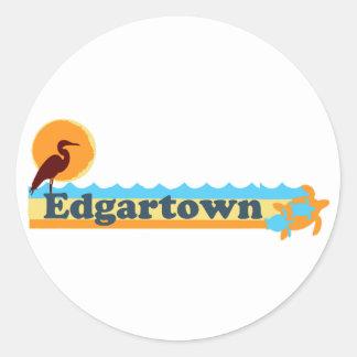Edgartown MA - Beach Design. Round Sticker