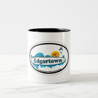 Edgartown MA - Oval Design. Two-Tone Mug