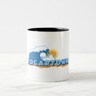 Edgartown MA - Waves Design. Two-Tone Mug