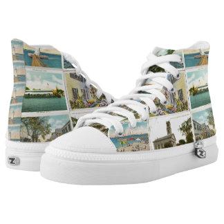 Edgartown Postcard Hightop Sneaks Printed Shoes