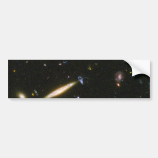 Edge-On Spiral Galaxy Collides With Small Blue Gal Bumper Stickers