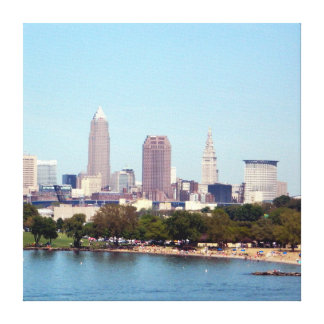 Edgewater View Cleveland Ohio Wrapped Canvas Print