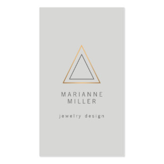 Edgy and Modern Rose Gold Triangle Logo on Lt Gray Pack Of Standard Business Cards