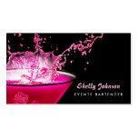 Edgy Black and Pink Splash Events Bartender Pack Of Standard Business Cards