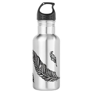 Edgy & Chic Intricate Lace Feather illustration 532 Ml Water Bottle