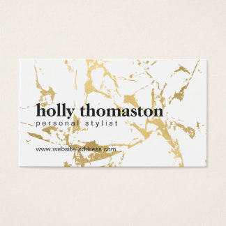 Edgy Cracked Gold Marble Business Card