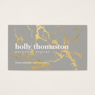 Edgy Cracked Gold Marble on Gray Designer Business Card