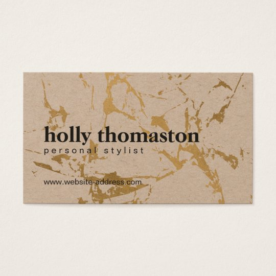 Edgy Cracked Gold Marble on Kraft Business Card