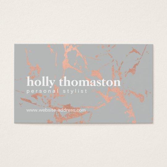 Edgy Cracked Rose Gold Marble on Grey Designer