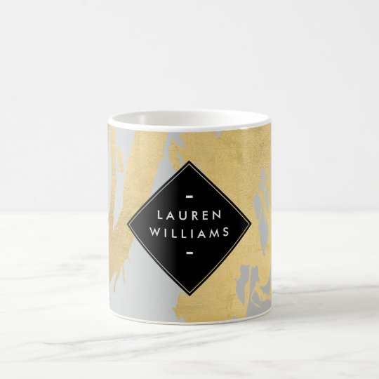 Edgy Faux Gold Brushstrokes on Grey Coffee Mug
