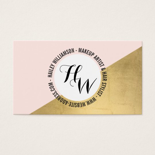 Edgy Geometric Circle Monogram Logo Gold/Pink Business Card
