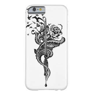 Edgy Lace Pen, Rose & Birds illustration Barely There iPhone 6 Case