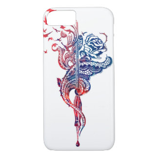 Edgy Lace Pen, Rose & Birds illustration iPhone 7 Case