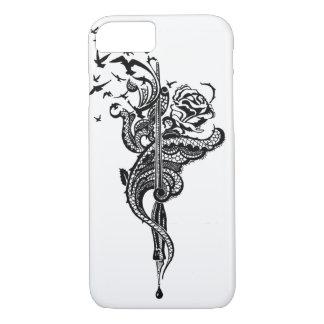Edgy Lace Pen, Rose & Birds illustration iPhone 7 Case