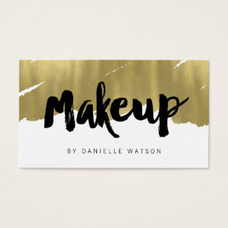 Edgy Painted Faux Gold Foil Makeup Artist Business Card