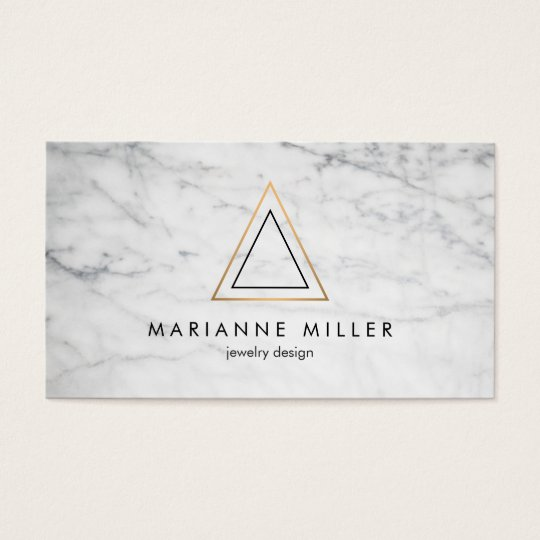 Edgy Rose Gold Triangle Logo White Marble Business