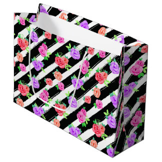 Edgy Roses & Modern Stripes Floral Fashion Party Large Gift Bag