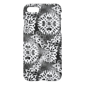 Edgy scratchy Snowflakes iPhone 7 Case