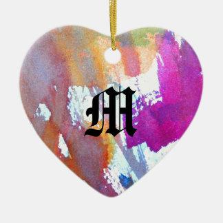 Edgy Watercolor Ceramic Heart Decoration