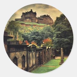 Edinburgh Castle - Antique Style Classic Round Sticker
