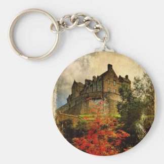 Edinburgh Castle Basic Round Button Key Ring