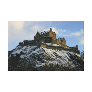 Edinburgh Castle Covered in Snow Stretched Canvas Prints
