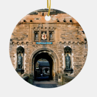 Edinburgh Castle entrance Round Ceramic Decoration