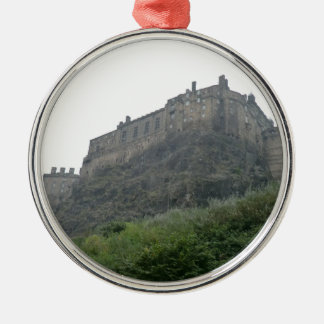 Edinburgh Castle in the Mist Silver-Colored Round Decoration