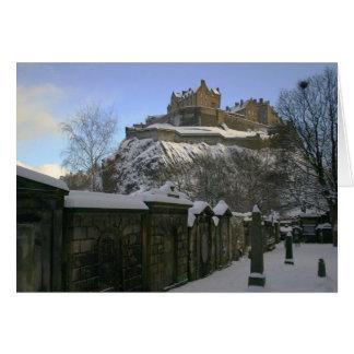 Edinburgh Castle in the snow. Greeting Card