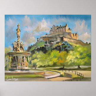 Edinburgh castle oil painting Gordon Bruce art Poster