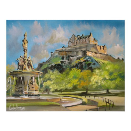Edinburgh castle oil painting Gordon Bruce art Poster