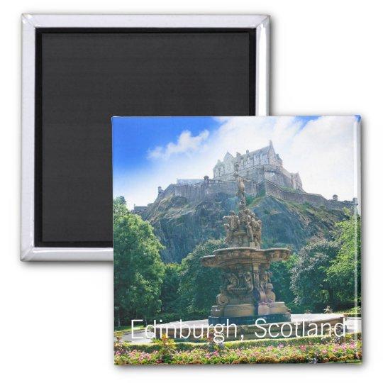 Edinburgh Castle, Scotland Square Magnet