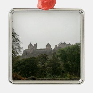 Edinburgh Castle Silver-Colored Square Decoration