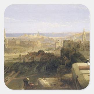 Edinburgh from the Castle, 1847 (oil on canvas) Square Sticker