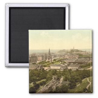 Edinburgh from the Castle, Scotland Square Magnet