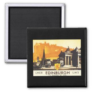 Edinburgh LNER Fine Vintage Travel Poster Square Magnet