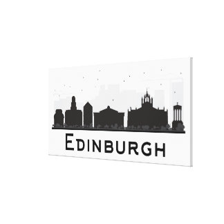 Edinburgh Scotland | Black and White Skyline Canvas Print
