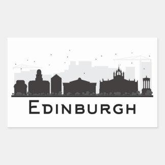 Edinburgh Scotland | Black and White Skyline Rectangular Sticker