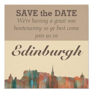 Edinburgh Scotland Skyline-Navaho 13 Cm X 13 Cm Square Invitation Card