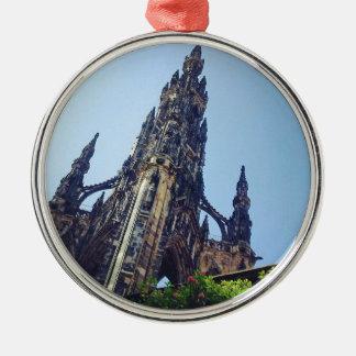 Edinburgh Scott's Monument Silver-Colored Round Decoration