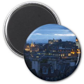 Edinburgh Skyline 6 Cm Round Magnet