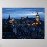 Edinburgh Skyline at dusk Poster