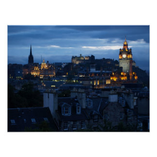 Edinburgh Skyline at dusk Poster