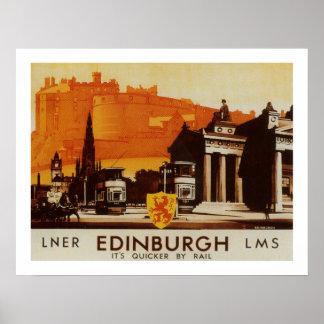 Edinburgh via LNER Rail Poster