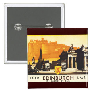 Edinburgh via LNER Rail Poster 15 Cm Square Badge