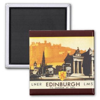 Edinburgh via LNER Rail Poster Square Magnet